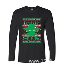 2017 Newest Fashion Funny Cthulhu Cultist Ugly Sweater Pattern funny long sleeve t shirt
