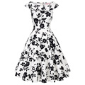2016 Woman Dress Vestidos Mujer Summer 50s Vintage Party Gowns Floral Printed Casual Sleeveless O Neck Cotton Rockbilly Dress