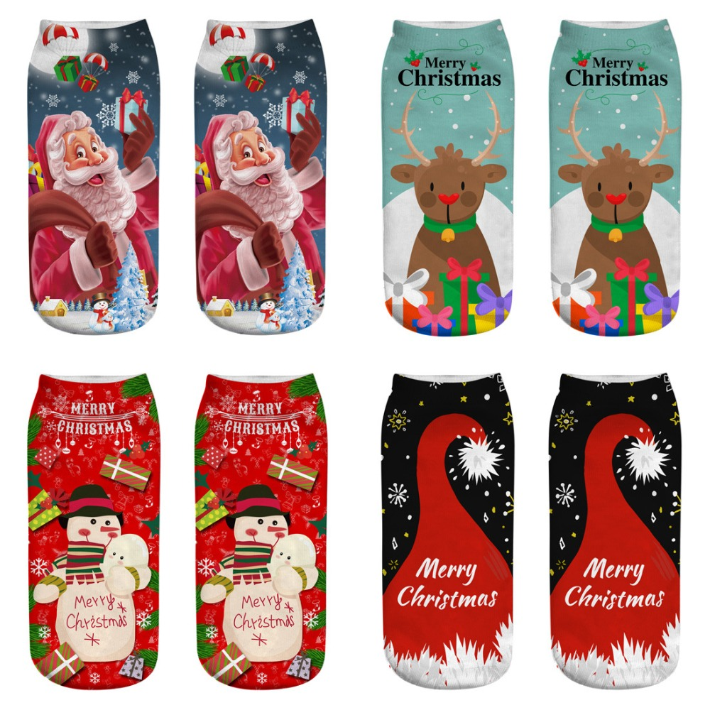 1Pairs New 3D printing socks Christmas big children new gift unisex  Support to map customization