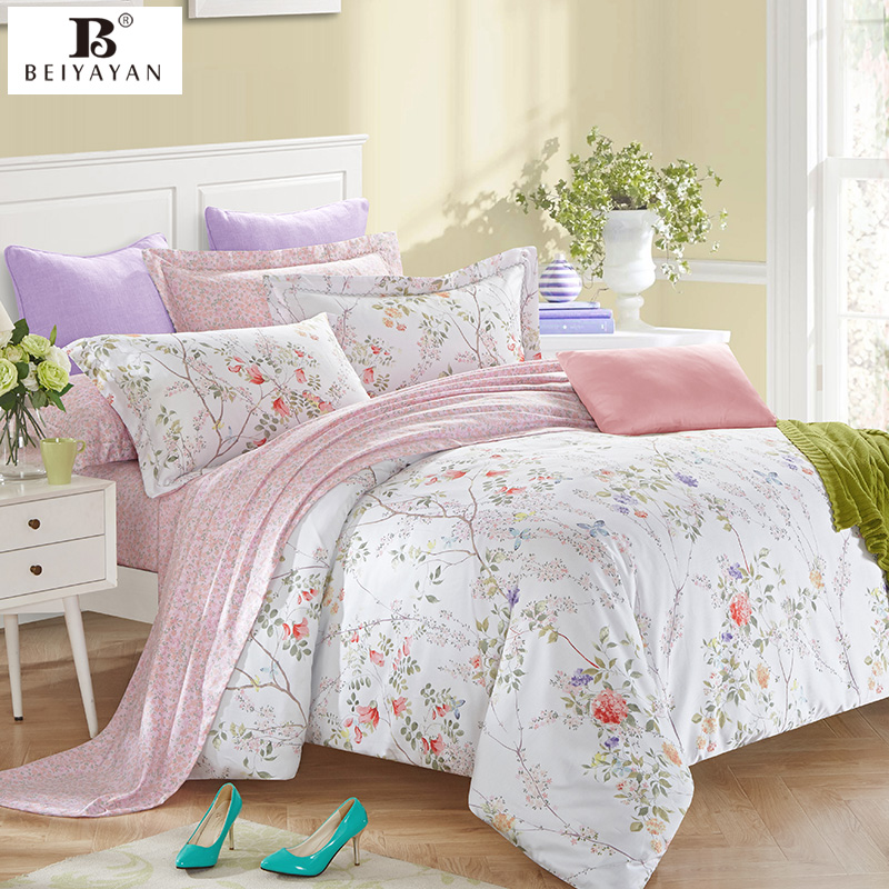 Bloemen Dekbedovertrek Beiyayan 100% Cotton Princess Bedding Duvet Cover White
