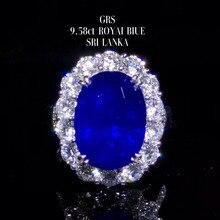 Ювелирное изделие заводское классическое роскошное 18 К золото Южная Африка настоящий бриллиант 9.58ct Натуральный Синий сапфир Золотое кольцо для женщин Свадьба