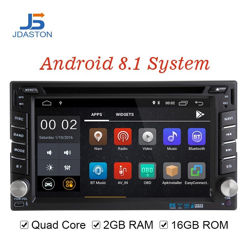 JDASTON Android 8.1 lecteur multimédia de voiture pour Peugeot 307 Nissan Volkswagen Passat Toyota 2 Din autoradio 2G + 16G GPS CD DVD WIFI