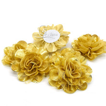 ФОТО new style hair accessory large craft flower-glitter golden fabric flower -shiny chiffon flower in high quality