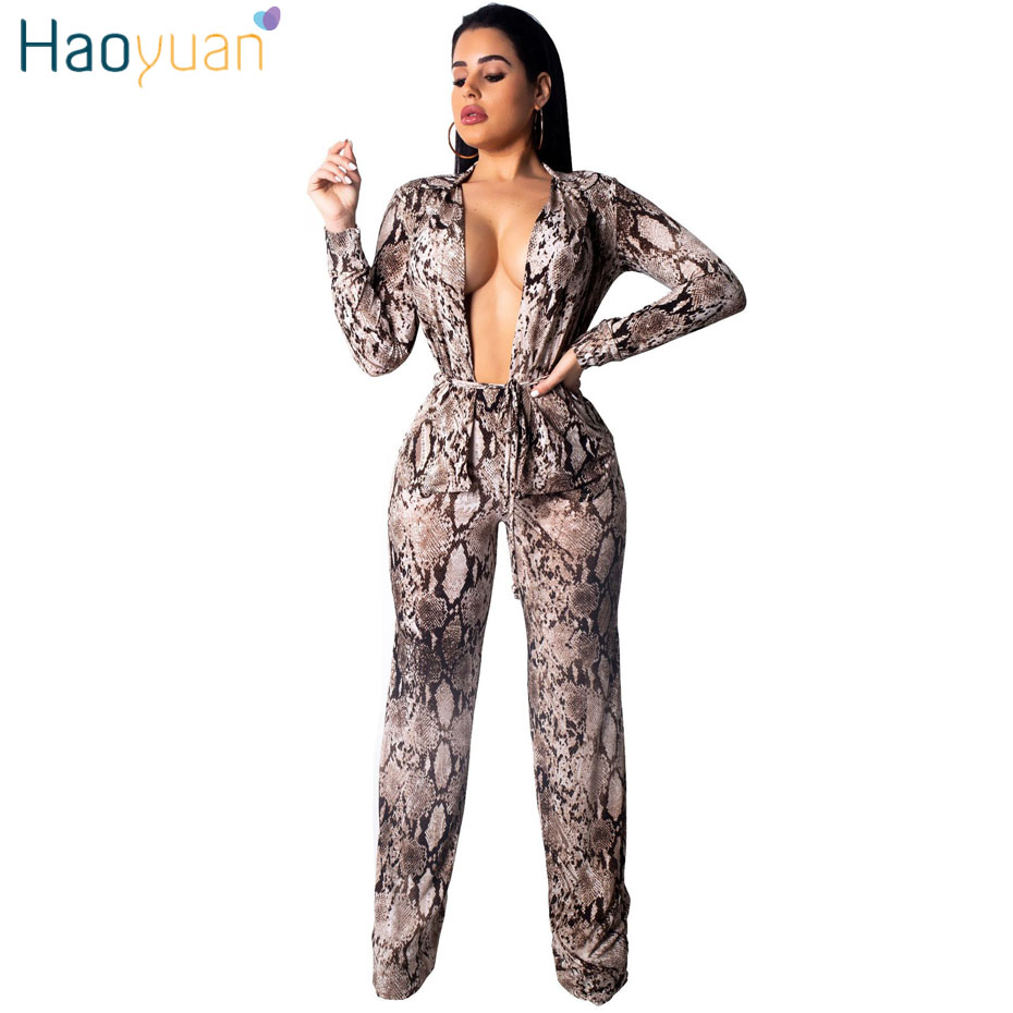 HAOYUAN Snake Skin Print Sexy Two Piece Set Women Clothes Long Sleeve Top and Pants Sweat Suit Casual Club Outfits Matching Sets