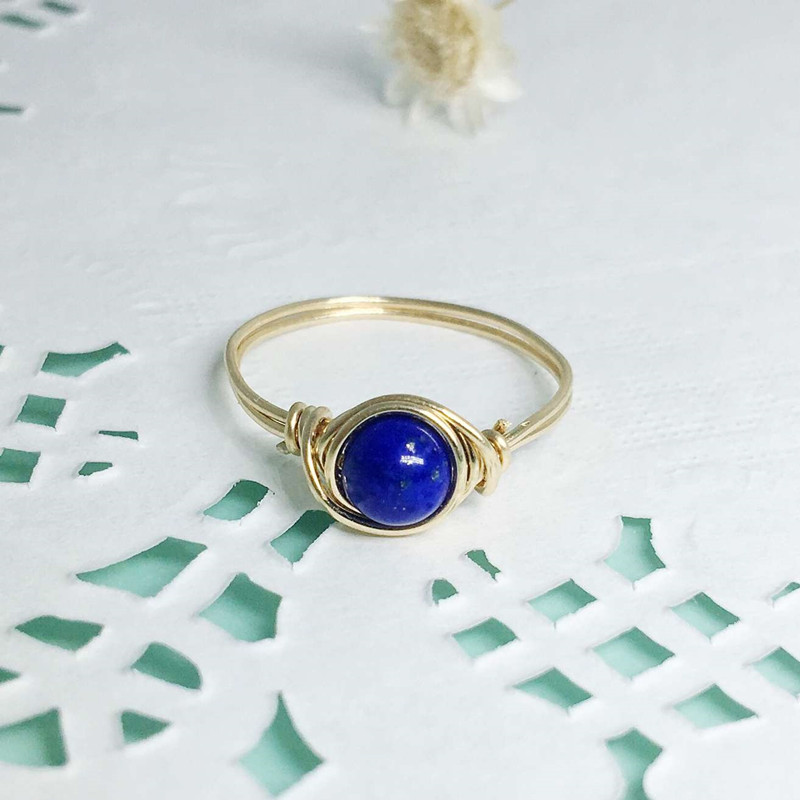 14kt Ring 2pcs Handmade Natural Lapis Lazuli Wire Wrapped