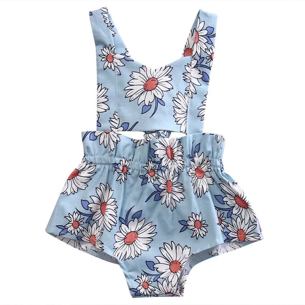 94d125384 Cute Newborn Baby Girl Floral Romper 2017 Summer Hole Backless Halter  Jumpsuit Outfits Infant Bebes Sunsuit