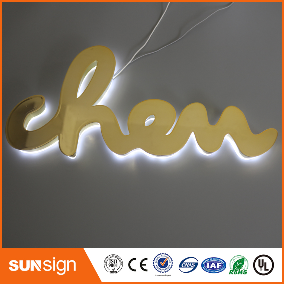 Polished /Brushed Vintage Metal Backlit Signage Letters LED 3D Illuminated Channel Letters Signs For Advertising Customized