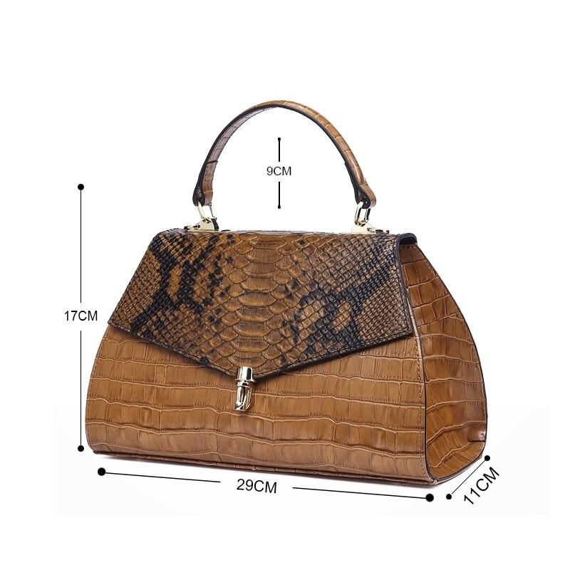 Qiwang élégant sacs à main pour femmes sacs à poignée supérieure en relief en cuir véritable Desinger dame sac à main 2019 marron fourre tout sacs à bandoulière - 6