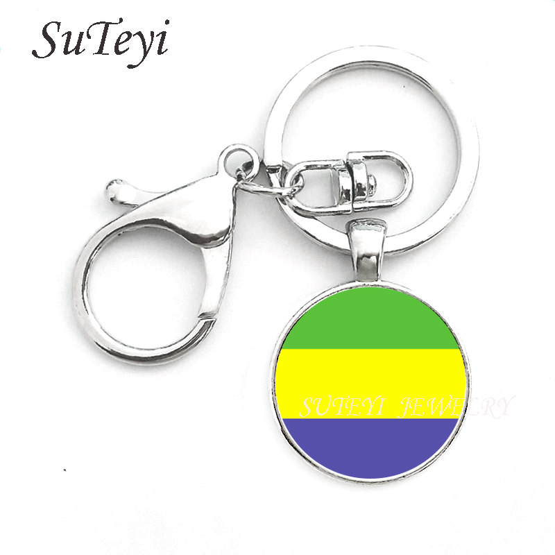 Leather Keyring Engraved Cameroon Flag