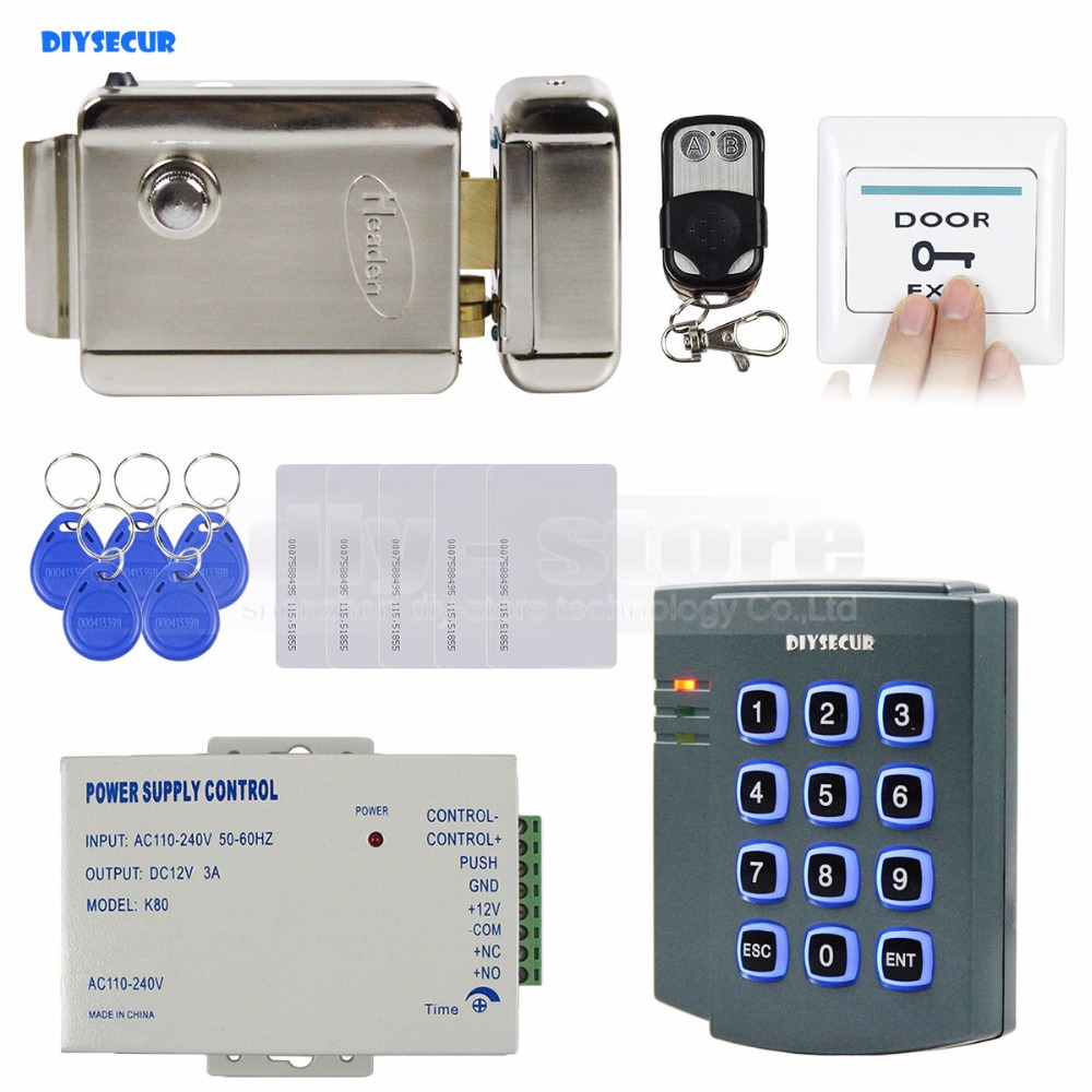 DIYSECUR Complete RFID Keypad Access Control System Kit + Electric Lock + Remote Control  for House / Office 2501 diysecur magnetic lock door lock 125khz rfid password keypad access control system security kit for home office