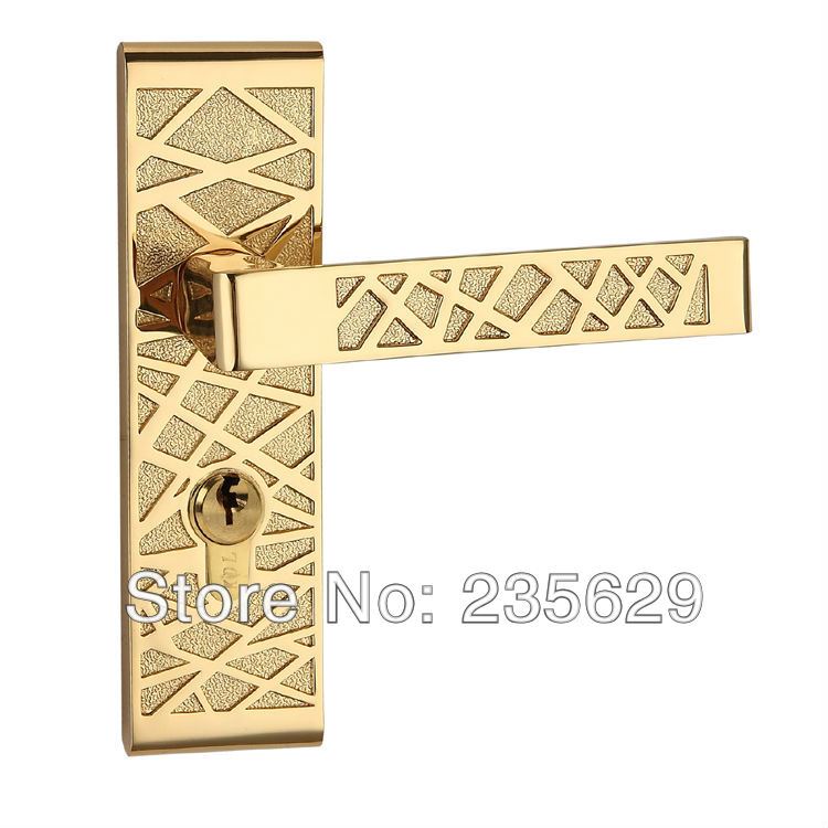 Free Shipping, Bedroom / Entrance Door Lock, Gold Plating, Zinc Alloy Handle, Brass cylinder t handle vending machine pop up tubular cylinder lock w 3 keys vendo vending machine lock serving coffee drink and so on