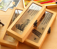 Freeshipping Wooden Pencil Wooden Box Lovely School Pencil Case For Students Souvenir Stationery For Friends