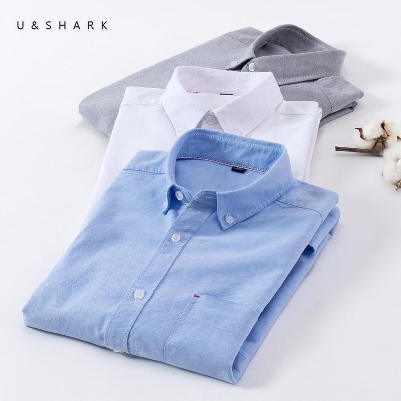 U&SHARK 2018 Summer 100% Cotton Oxford Shirt Men Short Sleeve Casual Shirts Male Brand Clothing Mens Dress Shirts Plaid Striped