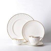 Europe White Ceramic Bone China Gold Plated Rim Steak Plate Fish Dish Noodles Soup Bowl Spoon