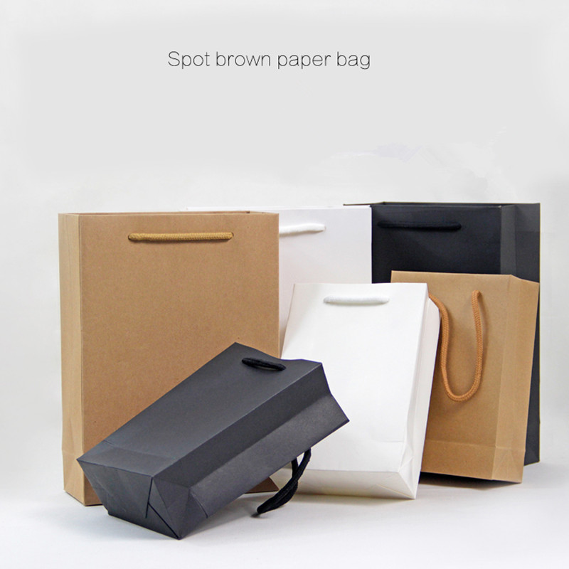 High-grade paper bags Clothes food cosmetics Paper Packing bags Black White Blown 3 colors provide choice