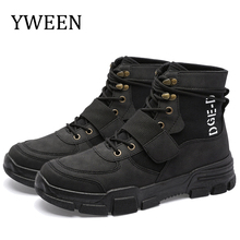 YWEEN 2019 Spring New Men Boots Lace-Up Bullock Carving Chelsea Casual Shoes Male Fashion