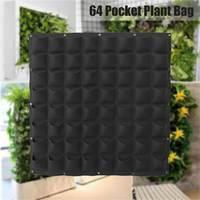 64 Pockets Garden Grow Bag Vertical Planter Wall mounted PE Gardening Flower Hanging Felt Planting Bag Indoor Garden Growing Pot