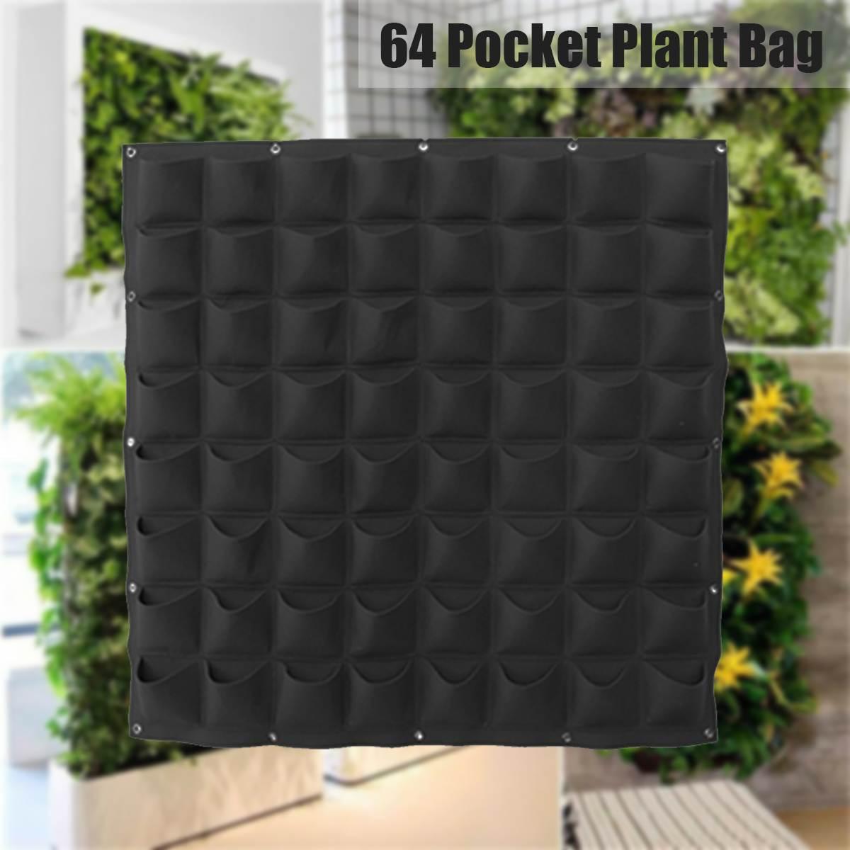 64 poches jardin cultiver sac Vertical planteur mural PE jardinage fleur suspendus feutre plantation sac intérieur jardin croissant Pot