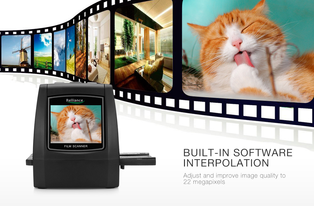 Relliance EC018 Film Scanner High-resolution Film Slide Scanner CMOS 35mm,110/135/126KPK/Super 8 films USB 2.4 TFT LCD Black 14