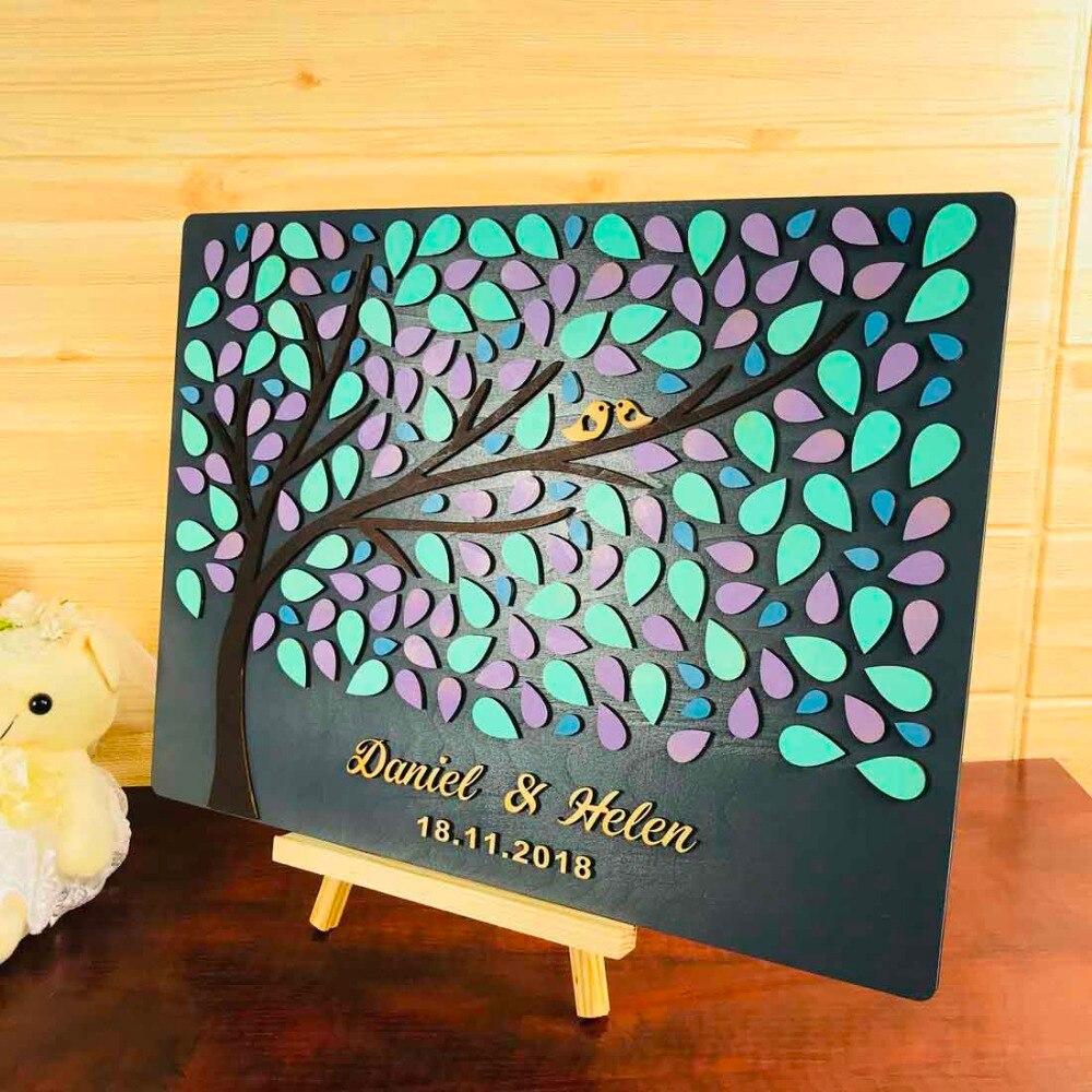 Personnalisé rustique en bois décor Unique mariage livre d'or 3D bois Alternative livre d'or coeur arbre de vie cadeaux de mariage pour les invités