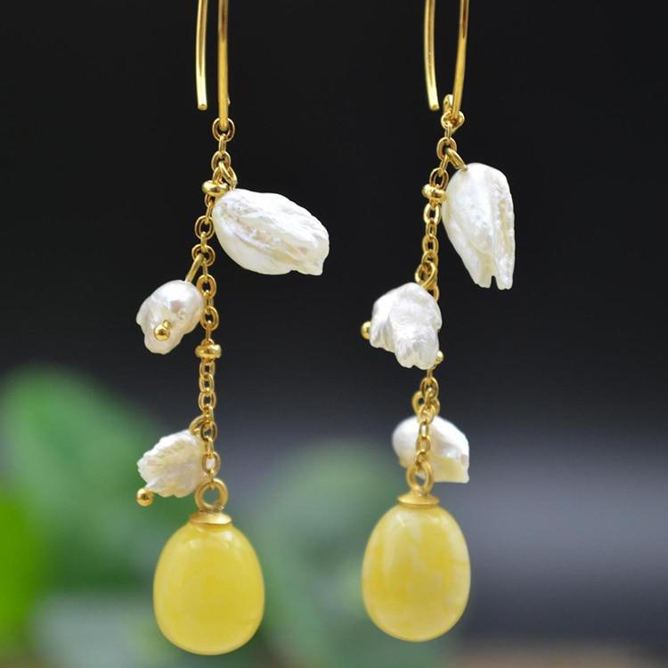 Boucles d'oreilles en argent sterling 925 avec perle d'abeille naturelle