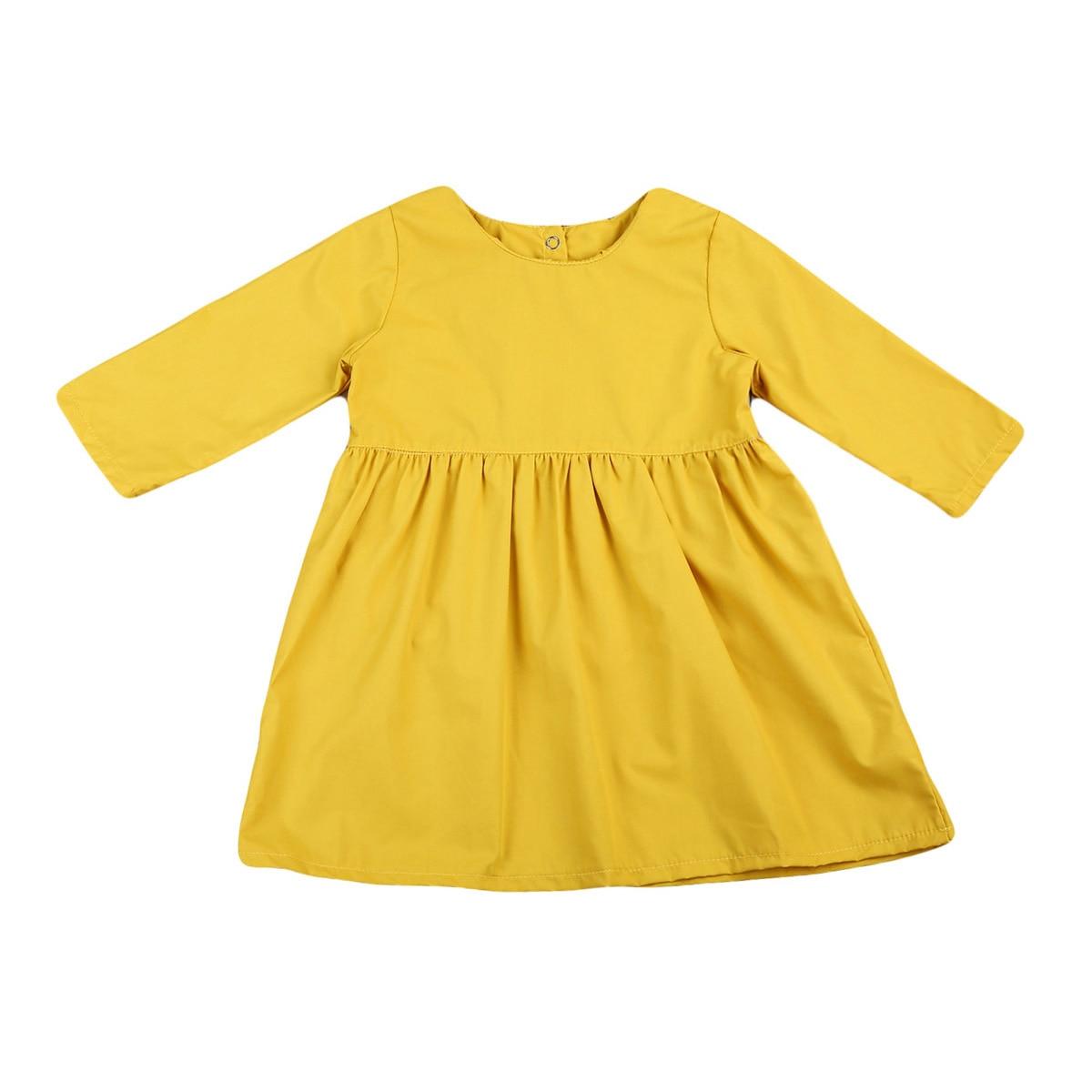 Милая одежда для маленьких девочек с длинным рукавом принцесса партии каждый день рубашка платье кнопку назад Костюмы