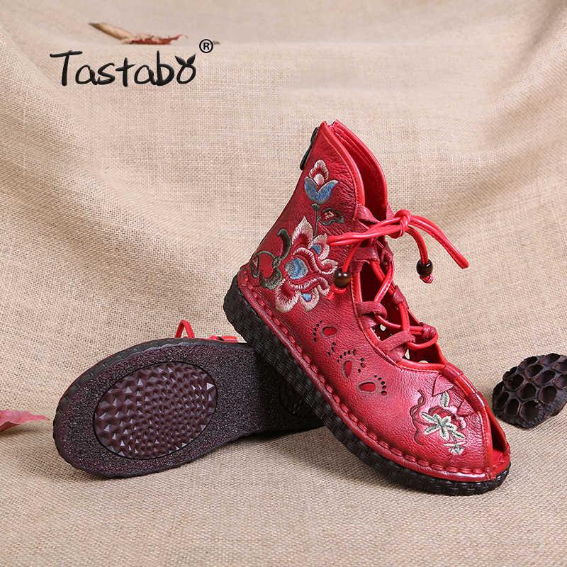 Tastabo Kadın Retro Rahat El Yapımı yarım çizmeler Düz Hakiki Deri Kadın Ayakkabı Nefes Rahat ayak Ajur desen