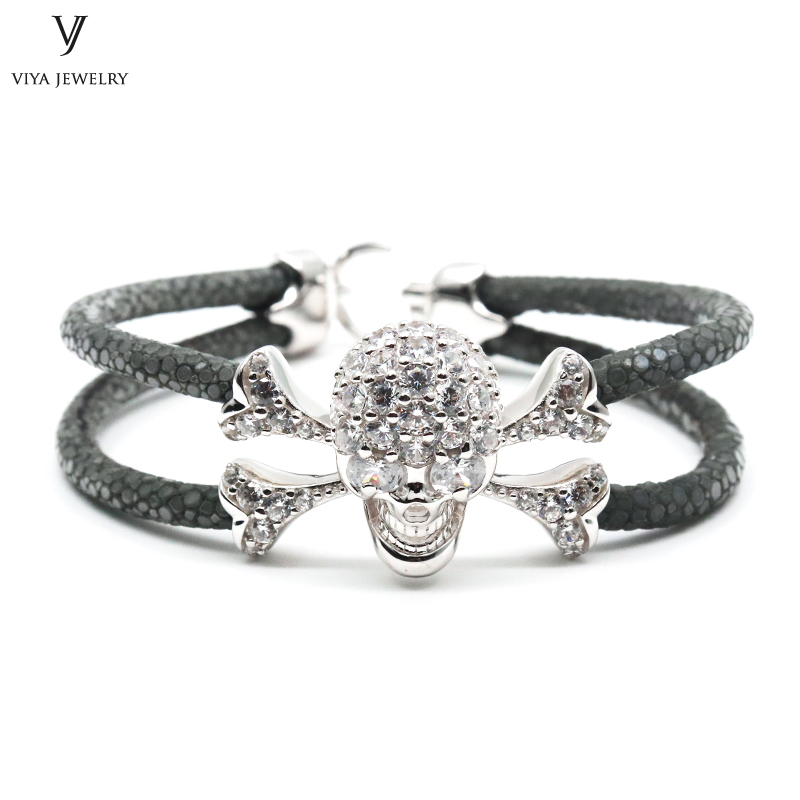 Luxury Pave Setting Sterling Silver Skull Bracelet Silver Skull & Grey Stingray Leather Bracelet Custom Stingray Jewelry For Men все цены