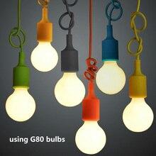 E27 Hanging Lamp Base Bulb Holder DIY Socket Colorful Silicone Line Chandelier Lighting Point Rubber Ceiling Light Fixture Home wg 8364 e14 base holder 3 light crystal chandelier ceiling lamp silver