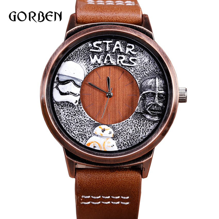 Fashion anime STAR WARS Sports Watch for Men Casual Leather strap Quartz Men Wristwatch for fans Boys Gifts Relogio Masculino