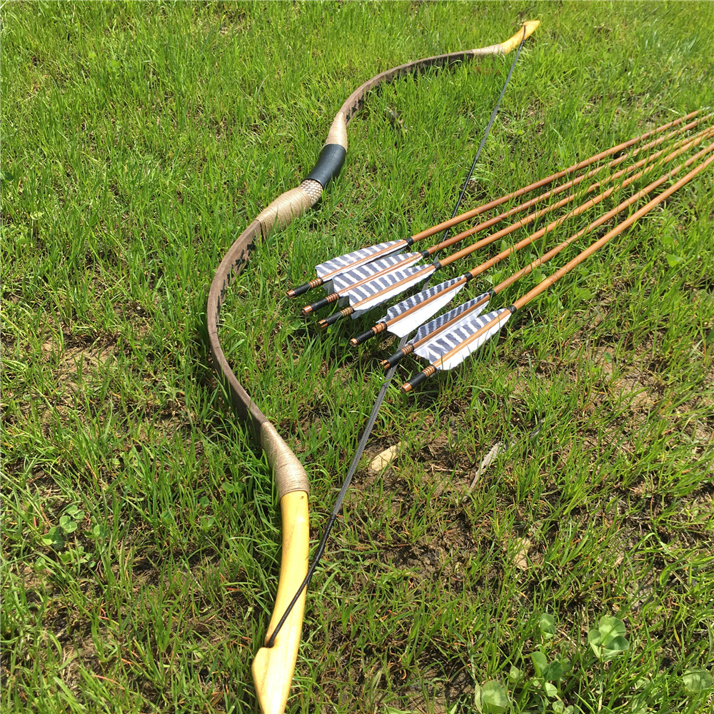 20 80IBS Brown Traditional Bow Hungarian Style Recurve Longbow 6 Bamboo Arrows For Outdoors Shooting Archery