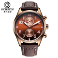 2016 OCHSTIN Luxury Brand Chronograph Function Mens Watches Genuine Leather Watches Date Luminous Men Male Quartz Wrist Watches