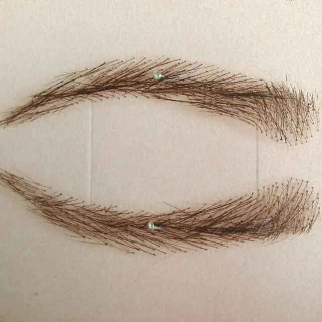 A pair of Hand Made Human Hair Eyebrow Fake Eyebrow 003 Light Brown Color Handmade Swiss Lace Invisible Reality Eyebrow