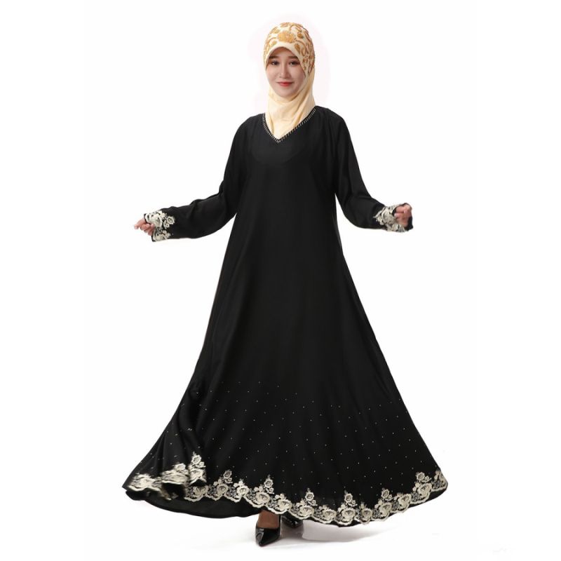 High Quality Islamic Women's Black Spring Abayas Muslim Long Sleeve Lace Hem Dress Arabic Dubai Turkish Women Clothing