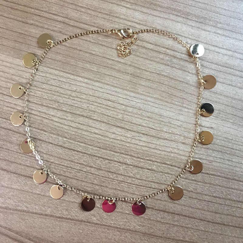 แฟชั่นสี Sequins เหรียญพู่ Choker สร้อยคอสำหรับสุภาพสตรีสร้อยคอ Jewellry colares
