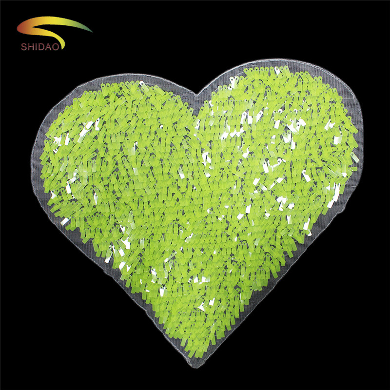 Light green heart sequins patches applique sew on embroidered clothing diy craft iron t-shirt repair decor for woman garment