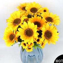 11 ראשי/זר אלגנטי מלאכותי חמניות משי פרחי בית מסיבת חתונת דקור מלאכותי פרח זר קישוט פרחים