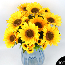 Ramo de flores artificiales de seda para casa, 11 cabezas, elegantes girasoles artificiales para decoración del banquete de boda, ramo de flores artificiales para Decoración
