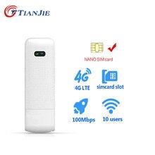 TIANJIE – Mini Dongle WiFi 3G/4G débloqué, Mobile/Portable/sans fil, Hotspot LTE/TDD/FDD, Modem USB à large bande avec emplacement pour carte SIM