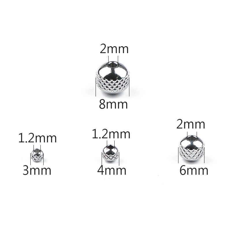 JHNBY de acero inoxidable espaciador granos bola 3/4/6/8 MM neumático 200 piezas de Metal redondo Suelto cuentas para pulseras de joyería haciendo bricolaje resultados