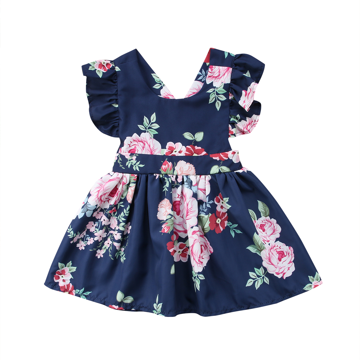2018 Fashion Toddler Kids Baby Girls Clothes Flower Backless Party Pageant Tutu Gown Dress Sundress Children Clothing