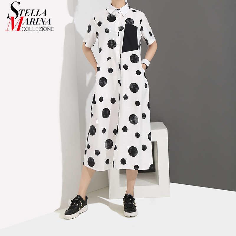 Женское платье-рубашка в горошек, длинное белое свободное повседневное платье с короткими рукавами, модель 4960 в корейском стиле на лето, 2019