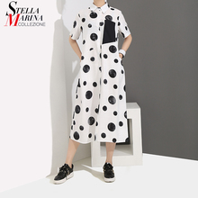 8ad344c9647 2019 корейский стиль женское летнее белое длинное платье-рубашка в горошек  с принтом с коротким