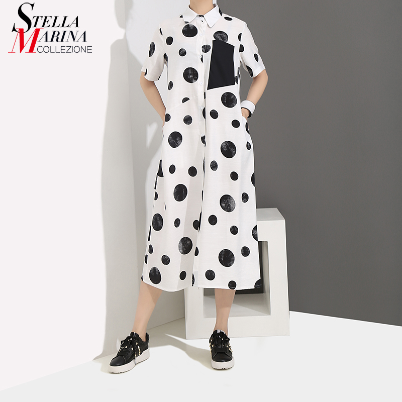 2019 Korean Style Women Summer White Long Shirt Dress Polka Dots Printed Short-Sleeve Ladies Cute Loose Casual Dresses Robe 4960
