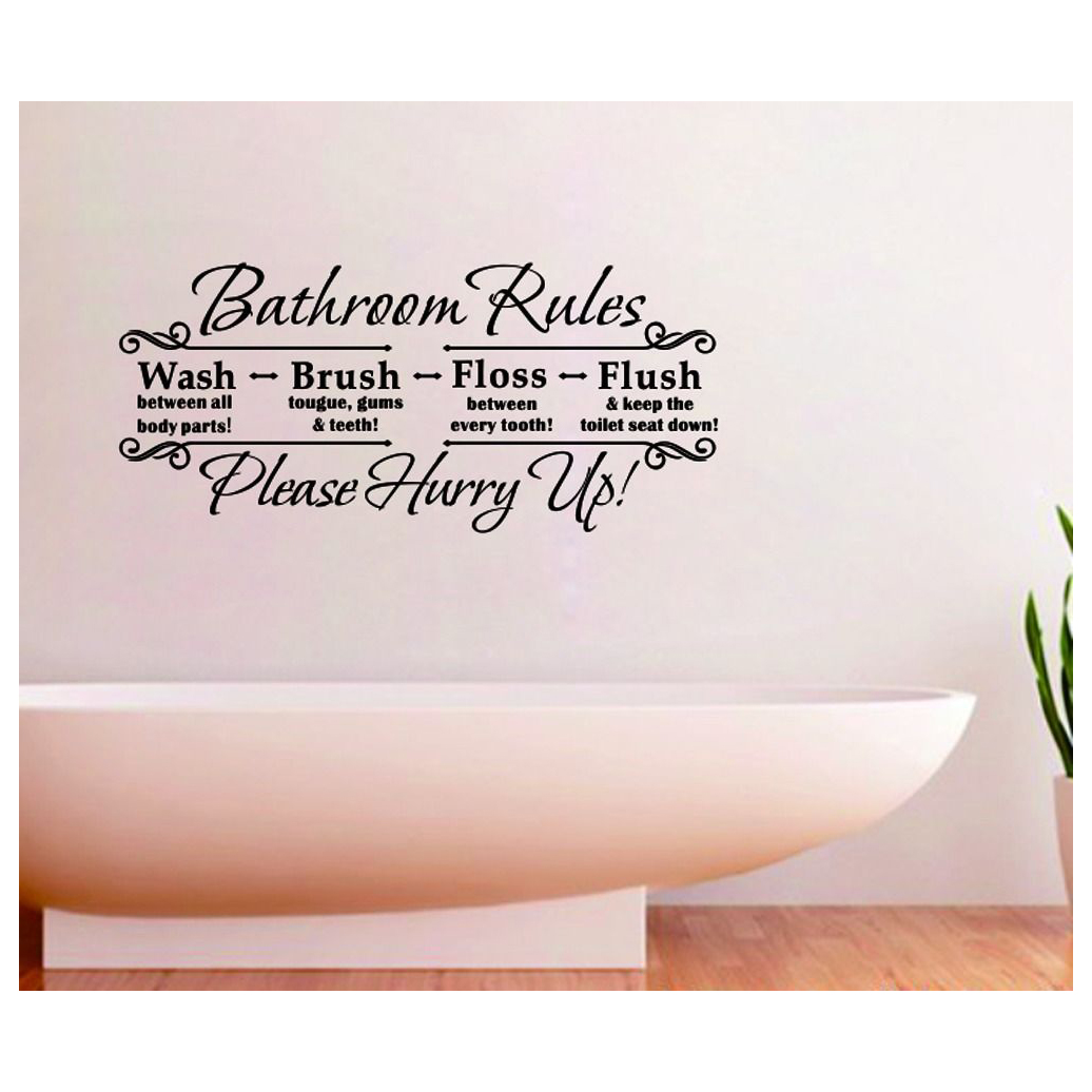 aliexpresscom buy bathroom rules english quote removable wall sticker vinyl art decals home decor from reliable home decor suppliers on zoes little