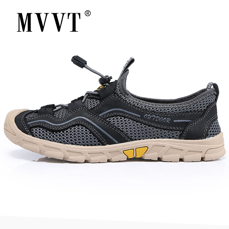 MVVT New Plus Size 47 Hiking Shoes Men Sneakers Summer Mesh Breathable Outdoor Sport