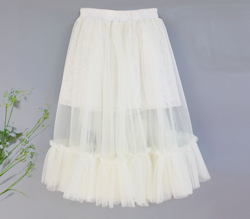 New Autumn Girls Kids Clothes Lace Ruffle Skirts Girl Long Tutu Skirt with Cotton Lining Children Pettiskirt kawaii Tutus 0 14T in Skirts from Mother Kids
