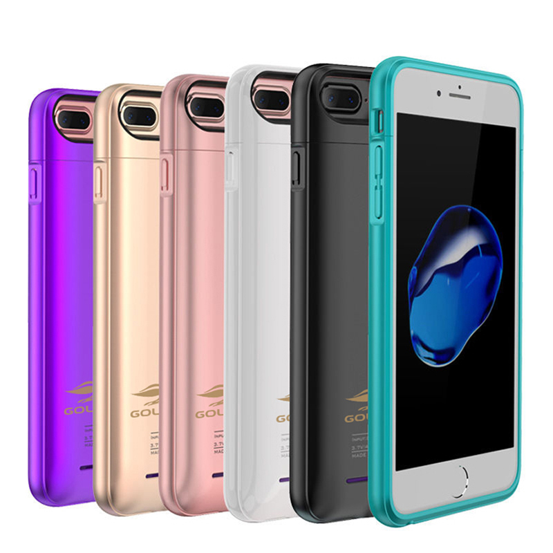 For iPhone 6 6s 7 plus External Battery Charger Case Cell Phone Power Bank Powerbank Charging Case Cover Built in Metal Sheet