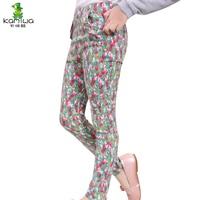 KAMIWA 2015 New Girls Pant Spring And Autumn Cotton Print Fashion Mid Waist Casual Skinny Clothing