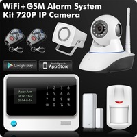 G90B Plus 2.4G WiFi GSM GPRS SMS Wireless Business Home Security Alarm System with IP Camera APP Remote Control Detector Sensors